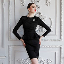 30- women vintage 50s long sleeve peplum wiggle fitted pencil dress in black office work dresses elegant plus size 4xl vestido(China)