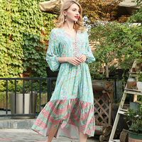 Women Long Sleeve V Neck Summer Dress Front Button Floral Print Loose Casual Boho Long Dress Plus Size Robe Femme Vestidos 2018