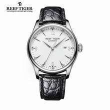Reef Tiger/RT Business Watches Mens Autoatmic Dress Watch Stainless Steel Alligator Strap Watch with Date RGA823
