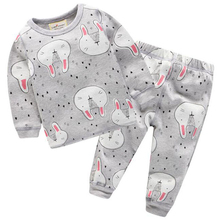 Lovely Rabbits Printed Cotton Baby Girl's Pajamas
