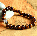 Natural onyx tiger eye stone beads bracelets for women with ancient silver buddha head bracelet jewelry gift 0750