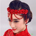 2016 New Design Hair Accessory Fashion Red Waterdrop Charm Flower Wedding Hats Hairwear Accessories For Women