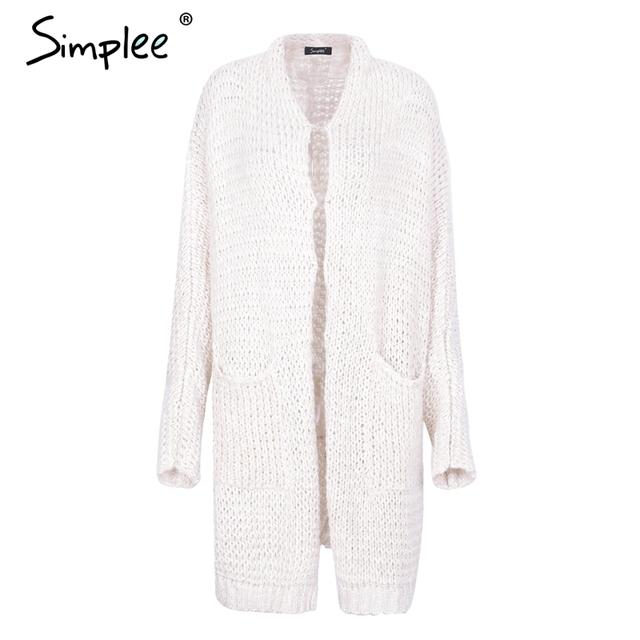 Simplee Casual knitting long cardigan female Loose kimono cardigan knitted jumper 2018 warm winter sweater women cardigan