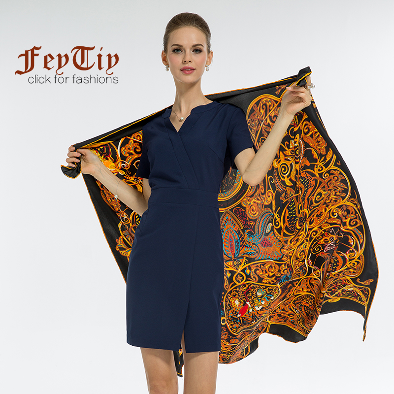 European Twill Silk Women Scarf Square Scarves Thousand One Night Print High Quality Gift 2018 Luxury Brand Shawl 130*130 cm
