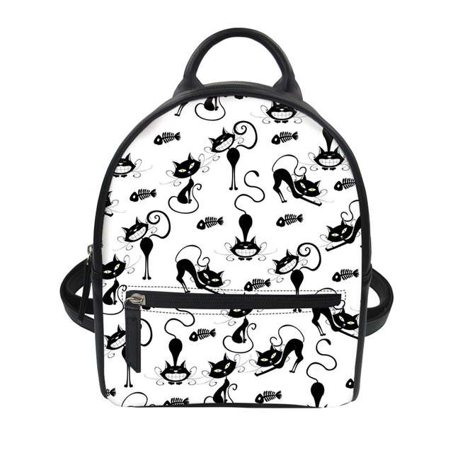 24f64ab306 Noisydesigns Cute Cartoon Stroke Cows Cat Print Students Small Backpack  Daypack PU Leather String Shoulder