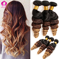 Ombre Mongolian Virgin Hair 3 Bundles Loose Wave Meches Bresilienne Lots Sexy Formula Hair Kinky Curly Ombre Hair Wet And Wavy