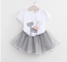 2016 summer baby girl clothing set cotton t-shirts+skirt 2pcs sets kids clothes suit girl clothing cartoon cat+tutu skirt 18m-6t