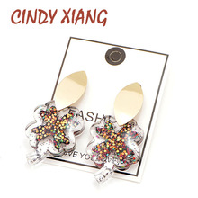 CINDY XIANG 3 Colors Available Resin Clover Stud Earrings Summer Beach Fashion Design Large Cute Carton Style Jewelry