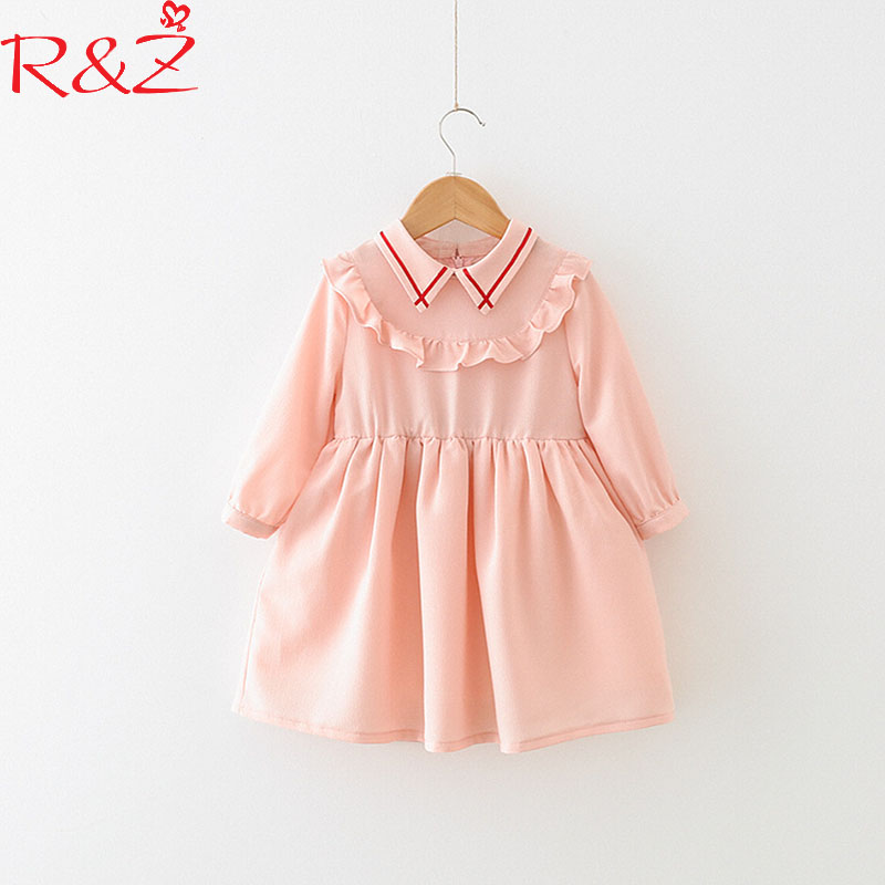 R&Z Baby Girls Clothing Dresses 2018 New Spring Cotton Line Lapel Pink Ruffles Long Sleeves Dress for Kids Childrens Clothing ...