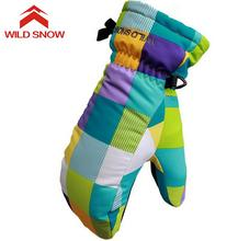 Wild Snow Snowboard Winter Ski Gloves Warmth Windproof Waterproof Cute Waterproof Warm Gloves Mittens for Children