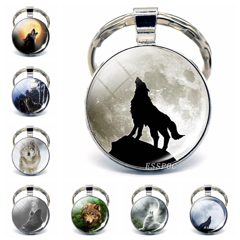 Wolf & Moon Pendant, Vintage Aggressive Wolf Keychain Men Jewelry Glass Cabochon Key Chain Holder Gifts