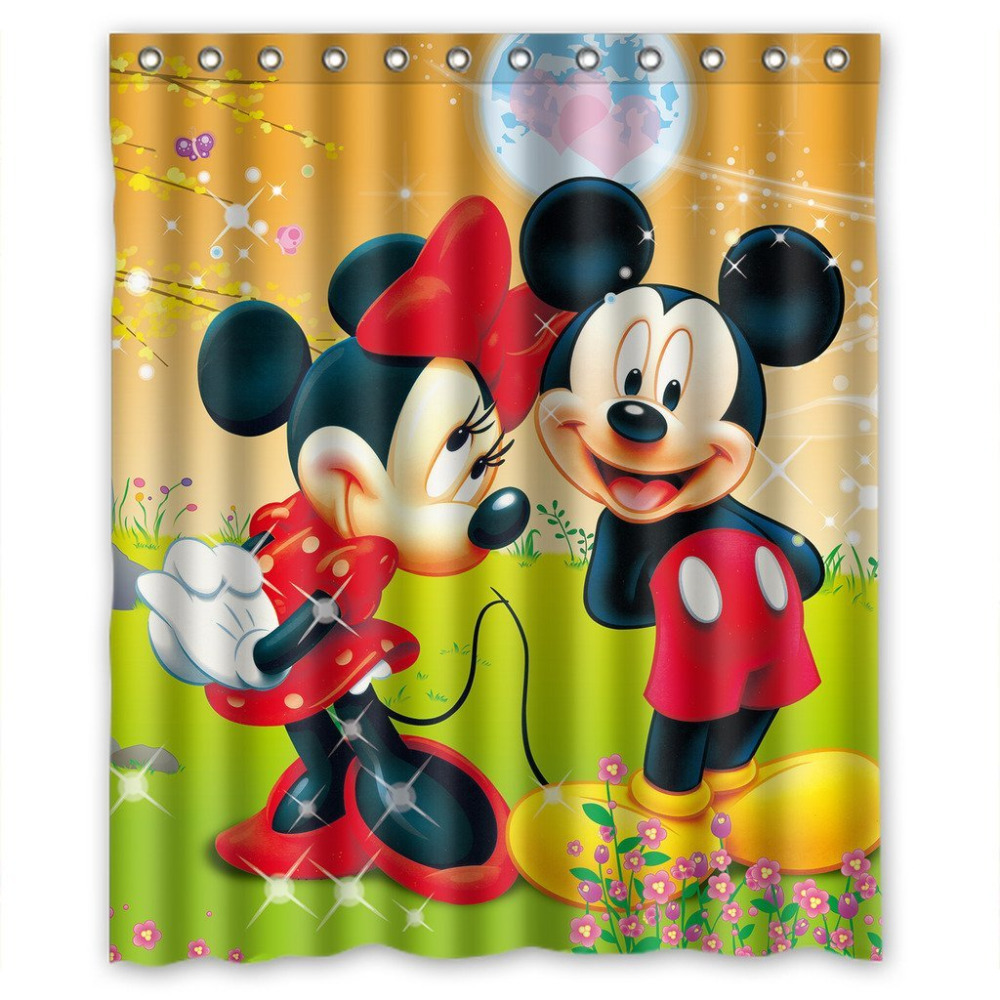 Custom Waterproof Bathroom Shower Curtain 180x180cm Mickey U0026 Minnie Mouse  Cartoon(China (Mainland)