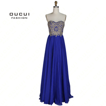 Real Photos Long Evening Dress Strapless A Line Chiffon Embroidery Floor Length OL102993