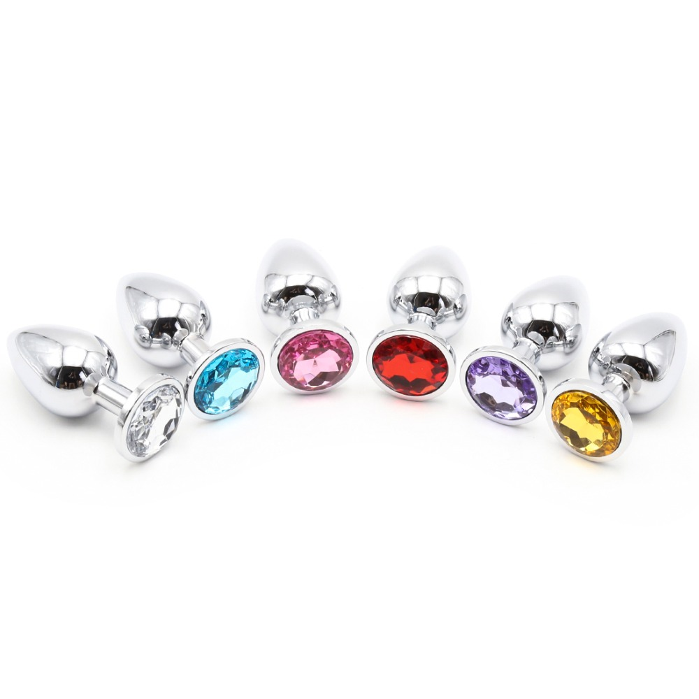 Stainless Steel Plug Metal adult toys Anal butt Crystal Jewelry Random Colors
