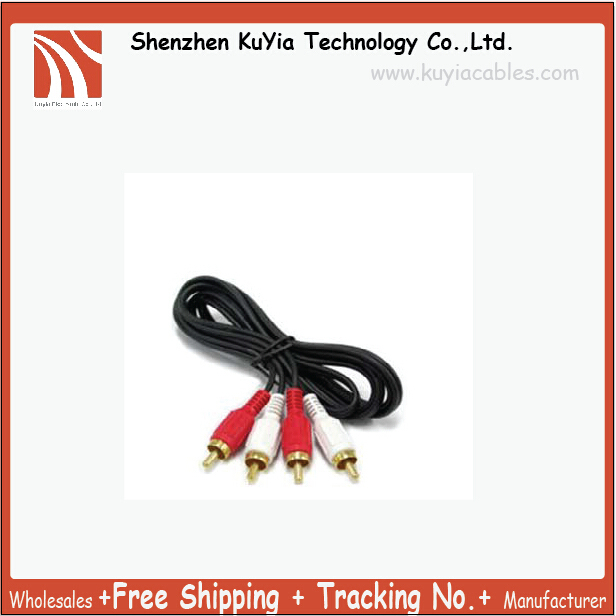 KUYiA Free Shipping New 2RCA MALE TO 2 RCA MALE AV TV AUDIO VISUAL CABLE (red,white )