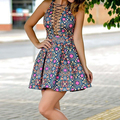Summer Sexy Club Dress floral printed Nightclub Wear Sleeveless Bodycon Tank Women Lace Up Bandage Dress Vestido 63
