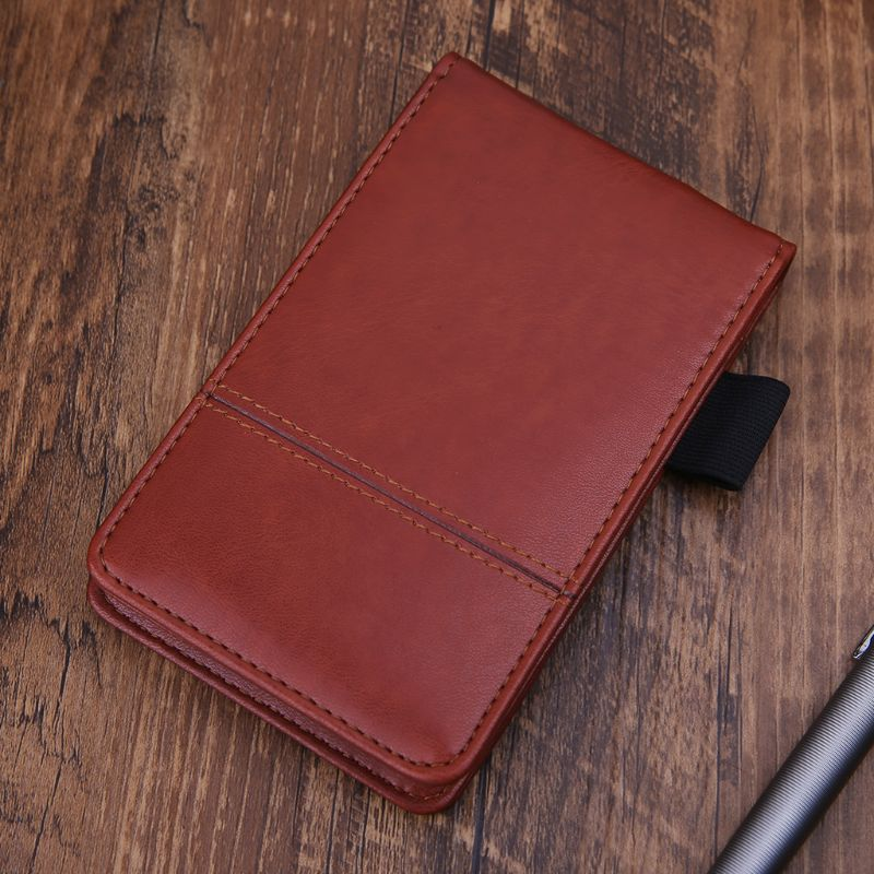Pocket A7 Notebook Leather Cover Notepad Memo Diary Planner With Calculator Business Work Office Supplies