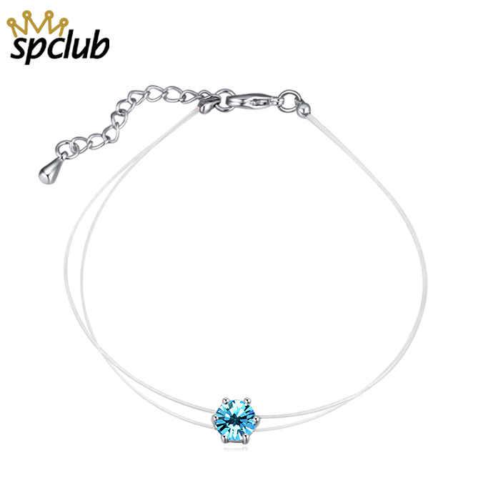 Nieuwe Onzichtbare Lijn Kristallen Uit Swarovski Hanger Charm Armband Voor Vrouwen Zilver Kleur Pulseira Feminina Geen Allergie Armband