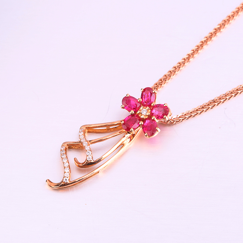 Robira Diamond Flower Skirt Pendants Necklaces 18K Rose Gold Natural Ruby Precious Stone Pendant Necklace Making Jewelry