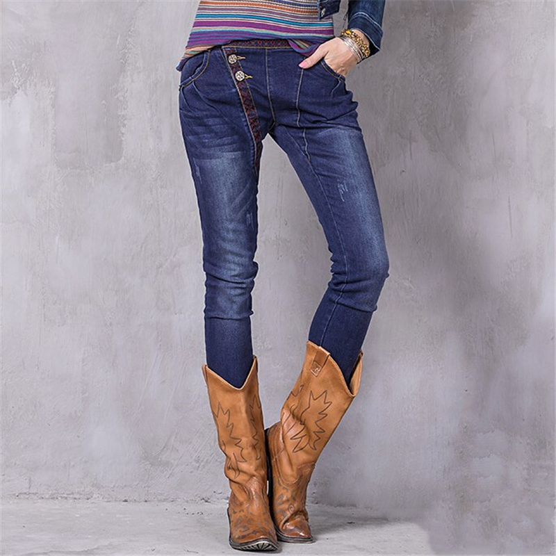 High Quality Spring Autumn Embroidered Jeans For Women Splice Jeans Slim Female Pencil Fashion Ripped Denim Pants jean femme men s cowboy jeans fashion blue jeans pant men plus sizes regular slim fit denim jean pants male high quality brand jeans