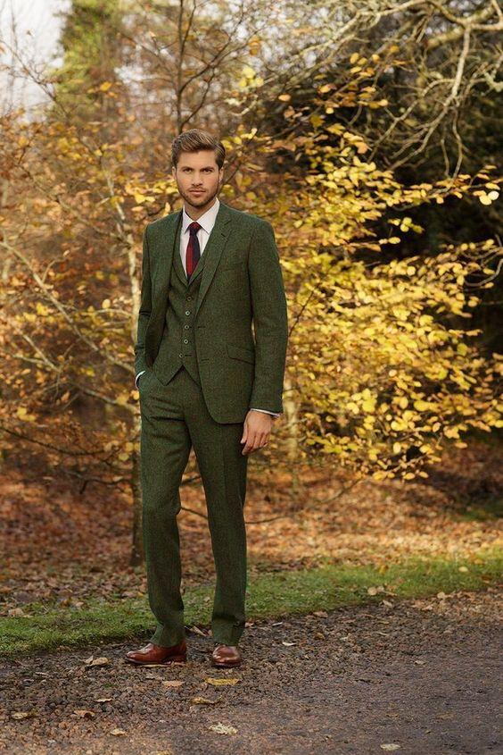 Последние конструкции пальто брюки зеленый твидовый костюм Для мужчин вечерние Slim Fit Blazer нежный ужин брак Пользовательские 3 предмета смоки