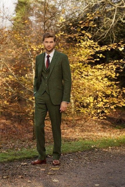 Latest Coat Pant Designs Green Tweed Suit Men Formal Prom Slim Fit Blazer Gentle Dinner Marriage Custom 3 Piece Tuxedo Terno se8
