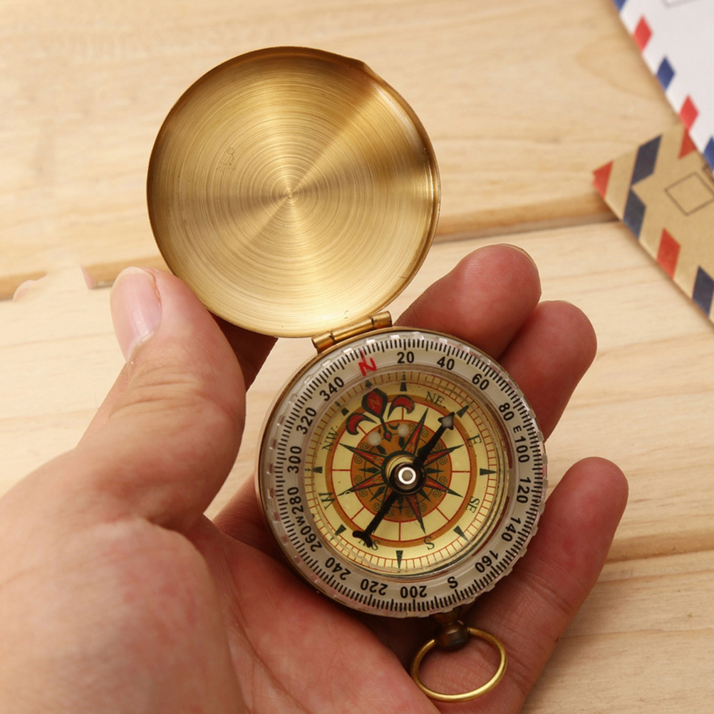 1 Piece Mini Brass Pocket Watch Style Navigation Keychain Compass Outdoor Hiking Camping Accessories mini kompas sleutelhanger