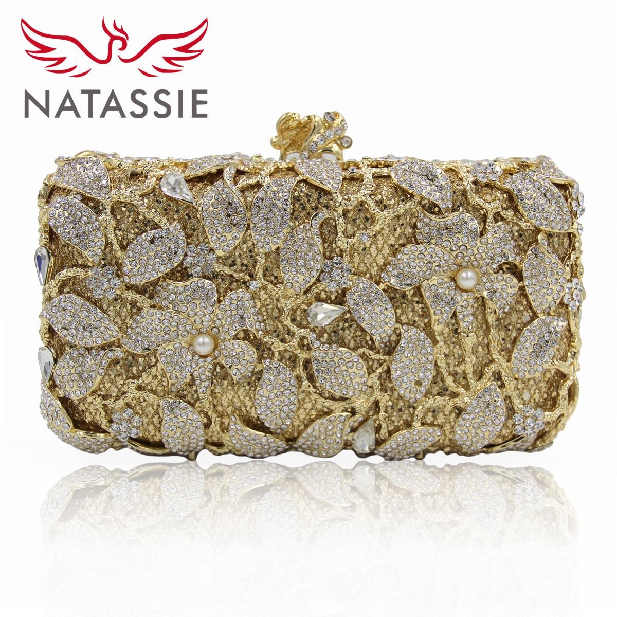 Natassie mujeres bolso de noche nueva moda pétalos de la forma del cerrojo moned