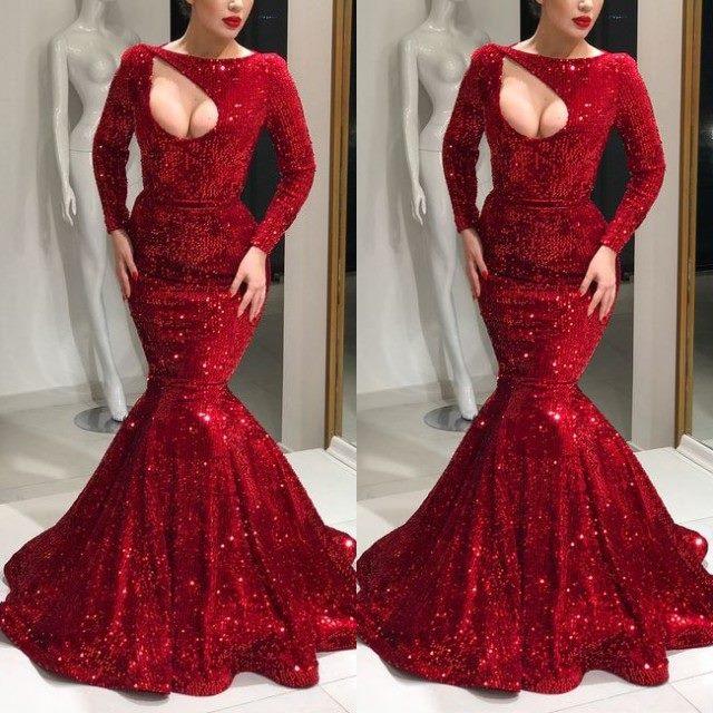 Великолепный красный Замочная скважина с длинным Русалка прелестные платья на выпускной Лодка шеи пикантные вечерние платья для выпускног...