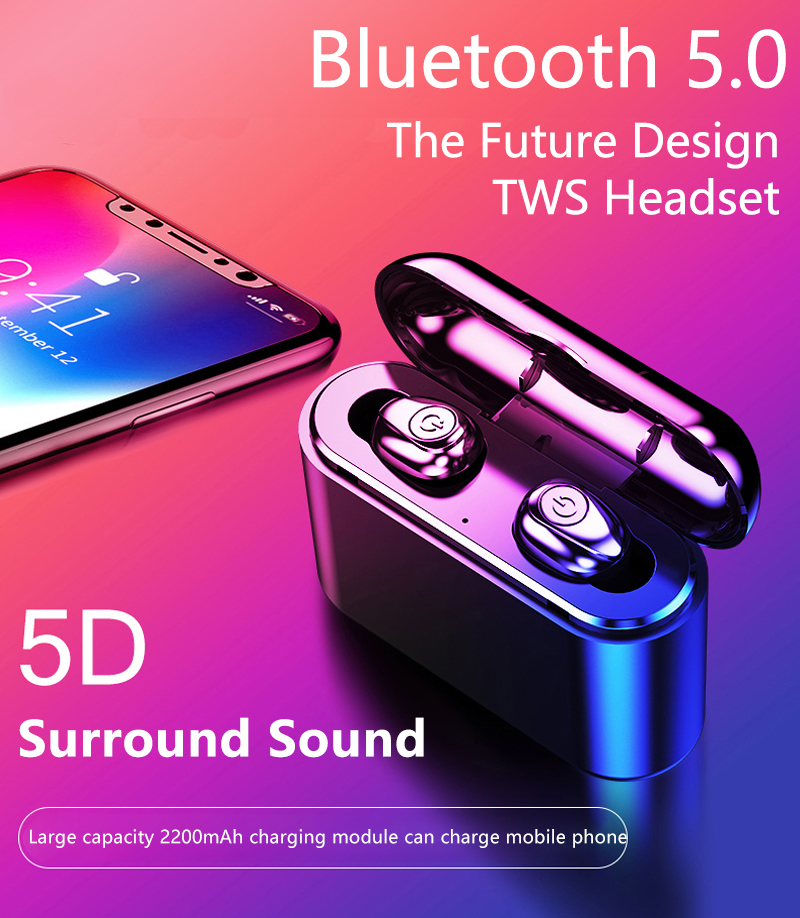 <font><b>X8</b></font> <font><b>TWS</b></font> <font><b>Bluetooth</b></font> <font><b>Earphone</b></font> 5D Stereo Wireless Earbuds Mini <font><b>TWS</b></font> <font><b>Earphone</b></font> Waterproof Headfrees with 2200mAh Power Bank Ea image