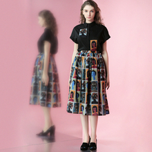FREE SHIPPING Jungle Me 2016 Spring New Literary Vintage Black Printing Two Piece Shirt And Tutu Middle Skirt Sets Women Suit