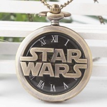 Cindiry Fashion Bronze STAR WARS Sci-fi Science fiction movies Quartz Pocket Watch Analog Pendant Necklace Men WomenWatches P20