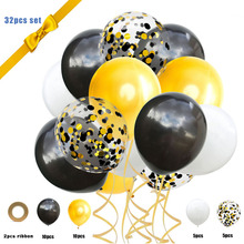 32-piece set 12-inch transparent latex mixed color sequins balloons black gold holiday party decorative