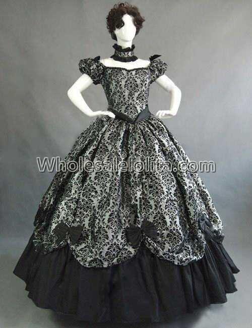 Vintage Costumes 1860 s guerre civile sud Belle gothique Lolita robe robes victoriennes - 2