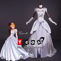 Adult Cinderella Costume Sandy Silver Princess Ball Gown Wedding Prom Dresses