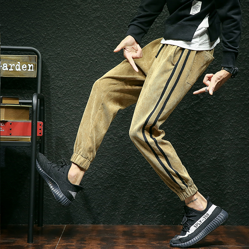 DEKUSI Autumn And Winter Man Corduroy Trousers Korean Bound Feet Male Pure color Leisure Pants
