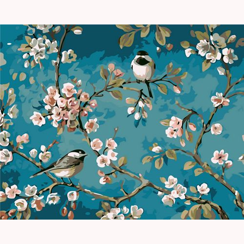H1323 бесплатно алмаз живопись, 5d, Алмазный живопись абрикос цветок и птица