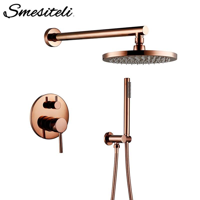 Rosa de ouro acabamento latão chuveiro desviador válvula torneira conjunto com 8-12 Polegada cabeça de chuveiro redondo kit de chuveiro de parede do banheiro