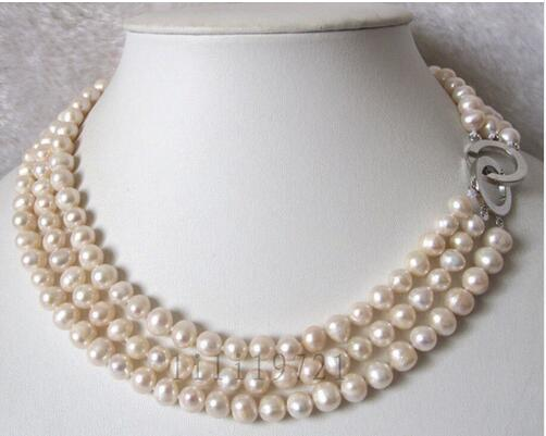 Women Gift Freshwater 3 Row 7-8mm White Cultured Pearl Necklace