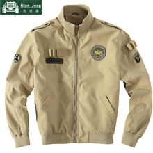 Brand Men Flight Jacket Embroidery Badge Military Jacket Army Green Cl