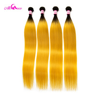 Ali Coco Brazilian Straight Hair Bundles 1B/Yellow Color Human Hair Weave 3/4 Bundles 10 30 Inch 100% Remy Hair Extensions
