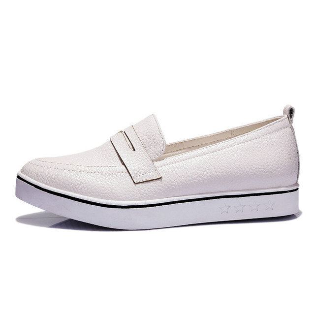 ESVEVA  All Match Size 34-40 Fashion White Women Shoes  Platform Low Heel Simple Shoes PU Leather Pointed Toe Women Casual Shoes