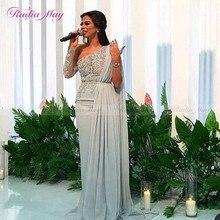 Арабское серебристо-серое вечернее платье на одно плечо с длинным рукавом в Дубае с накидкой, шифоновые кружевные аппликации, Длинные платья знаменитостей для выпускного вечера