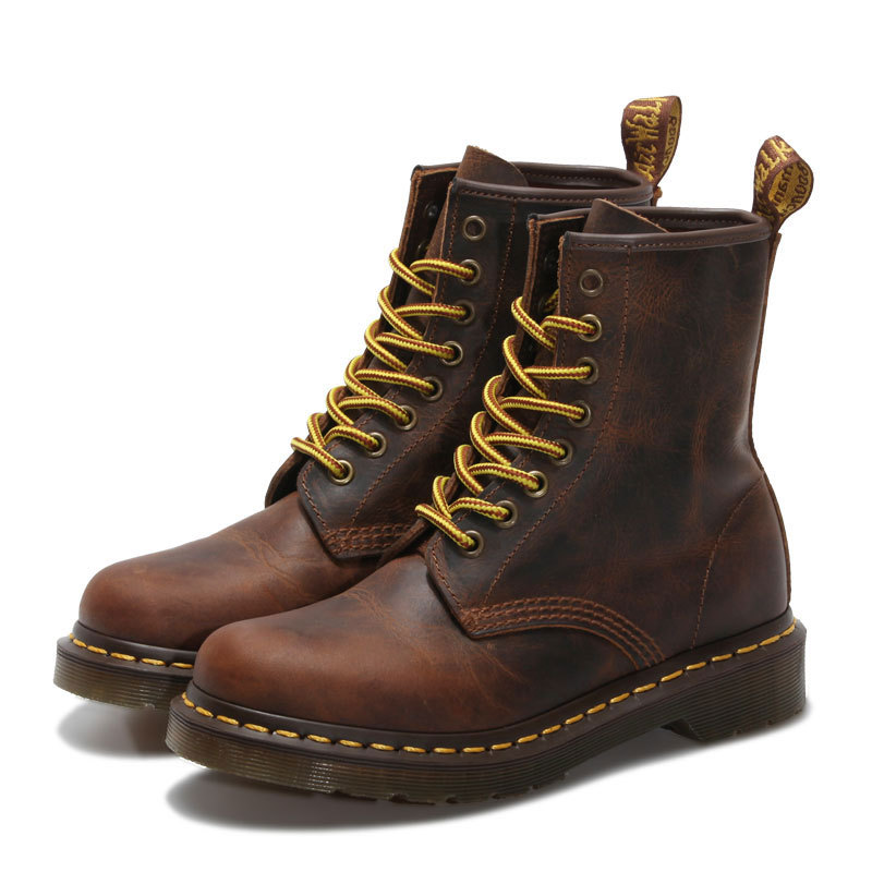 ФОТО Fashion Ladies Martin Boots Hight Quality Genuine Leather Shoes Unisex Women's Ankle Lace Up Cowboy Fashion Casual Boots Shoes