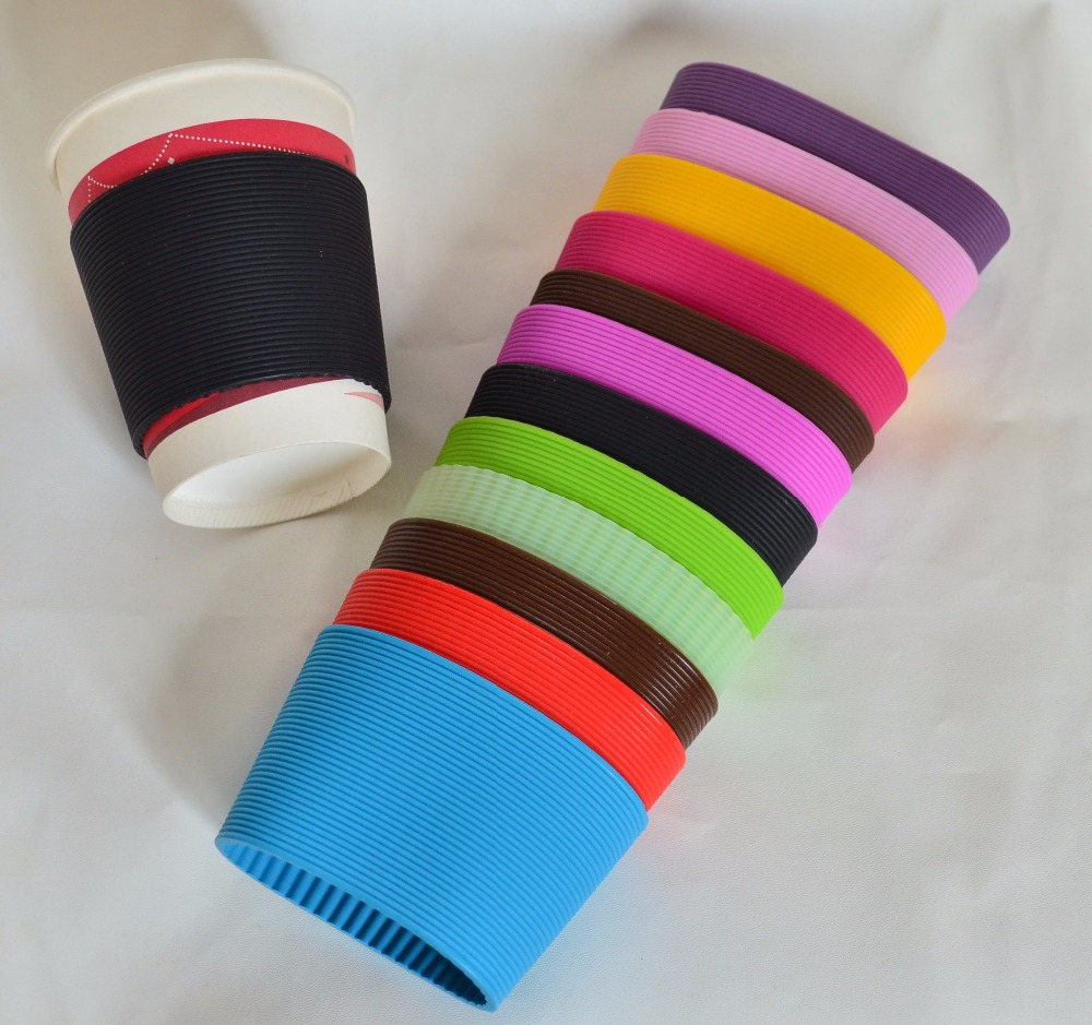 20pcs lot Recyclable Heat insulation cup sleeves horizontal vertical ribs silicone sleeves children protection sleeves