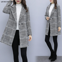 England Style Autumn Winter Long Coats Ladies Elegant Tailored Collar Houndstooth Wool Jacket Women manteau femme hiver long