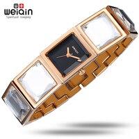 WEIQIN New Lady Brand Big Diamond Style Strap Fashion Bracelet Women Watch Luxury Steel OL Dress