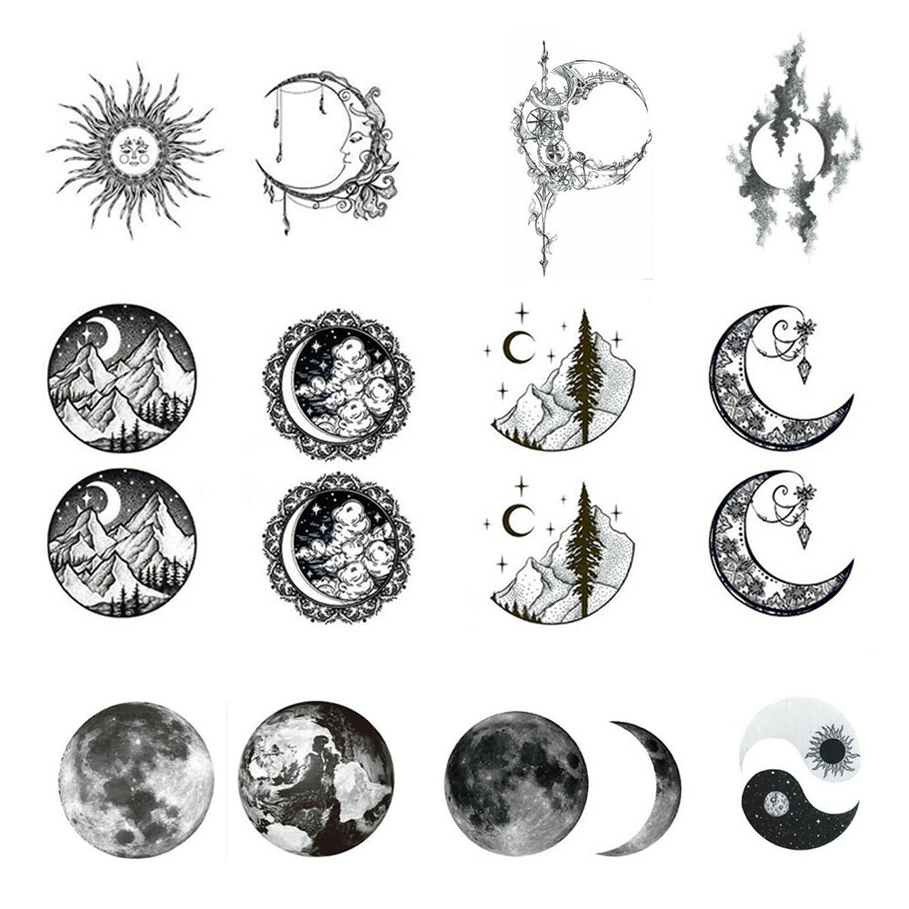 Waterproof Temporary Fake Tattoo Stickers Vintage Grey Moon Earth Design Make Up Tools