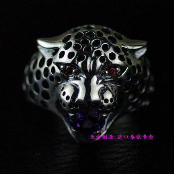 Thailand imports, ferocious leopard girl a silver ring