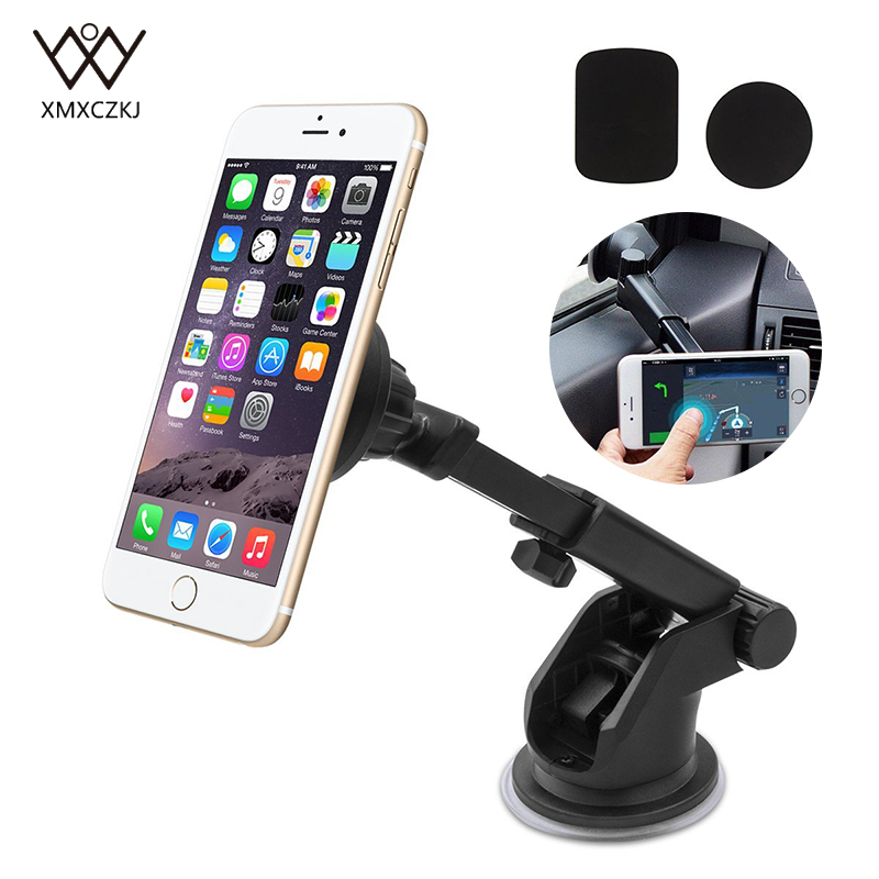 Universal Magnetic Mount Car Holder Berdiri untuk iPhone 7 6 6 S Galaxy S7, dukungan braket S7 Dashboard Mobil dan Windshield Holder